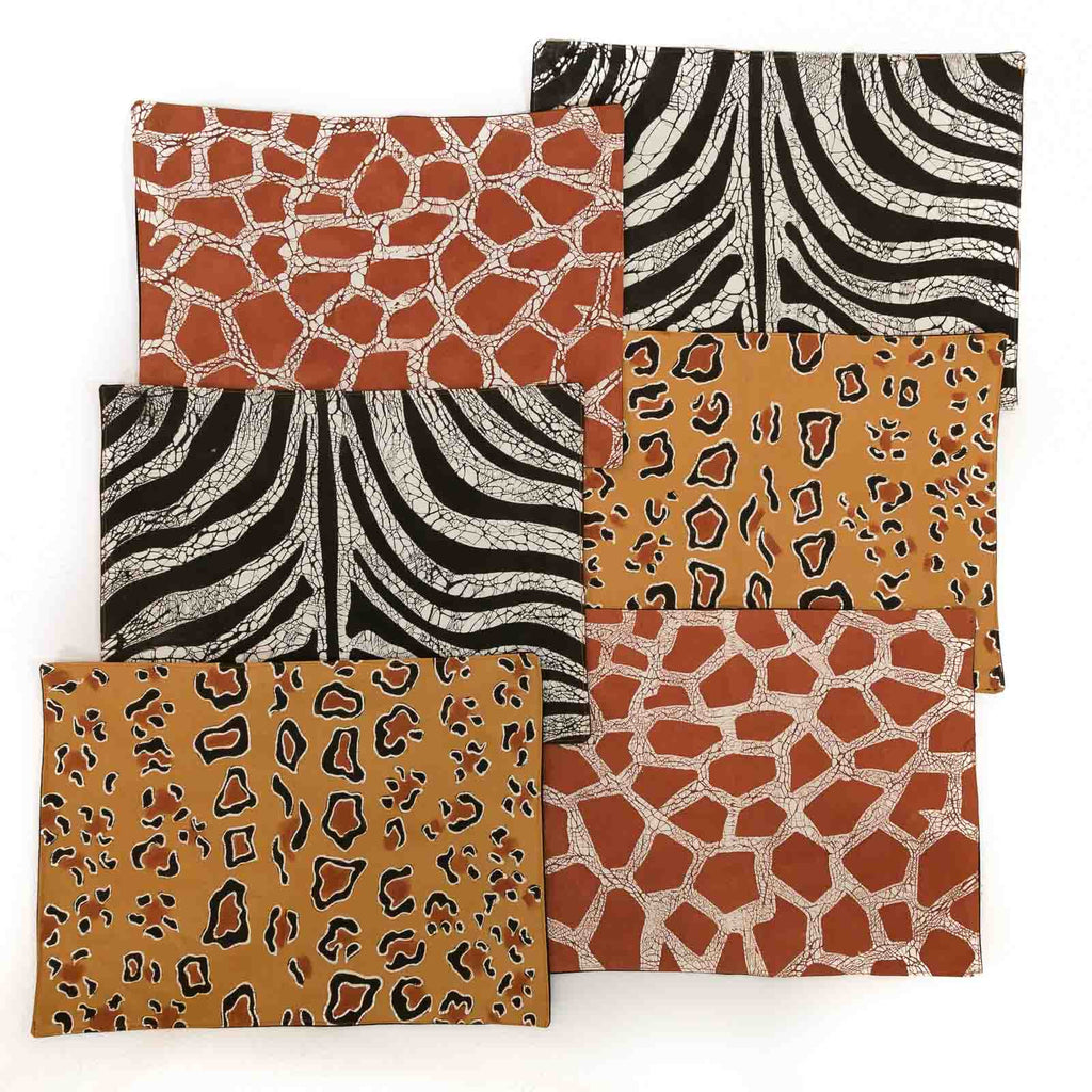 African placemats hand made with animal pattern inspired design