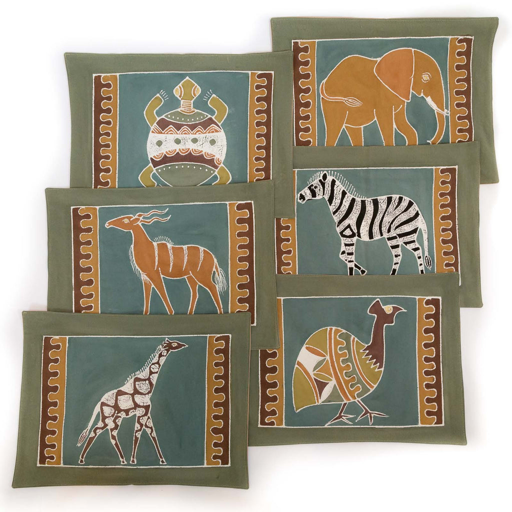 African placemats hand made with various safari animals design