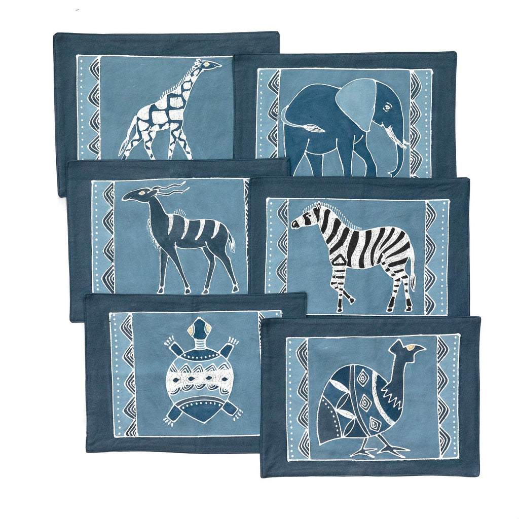African placemats hand made with safari animals design