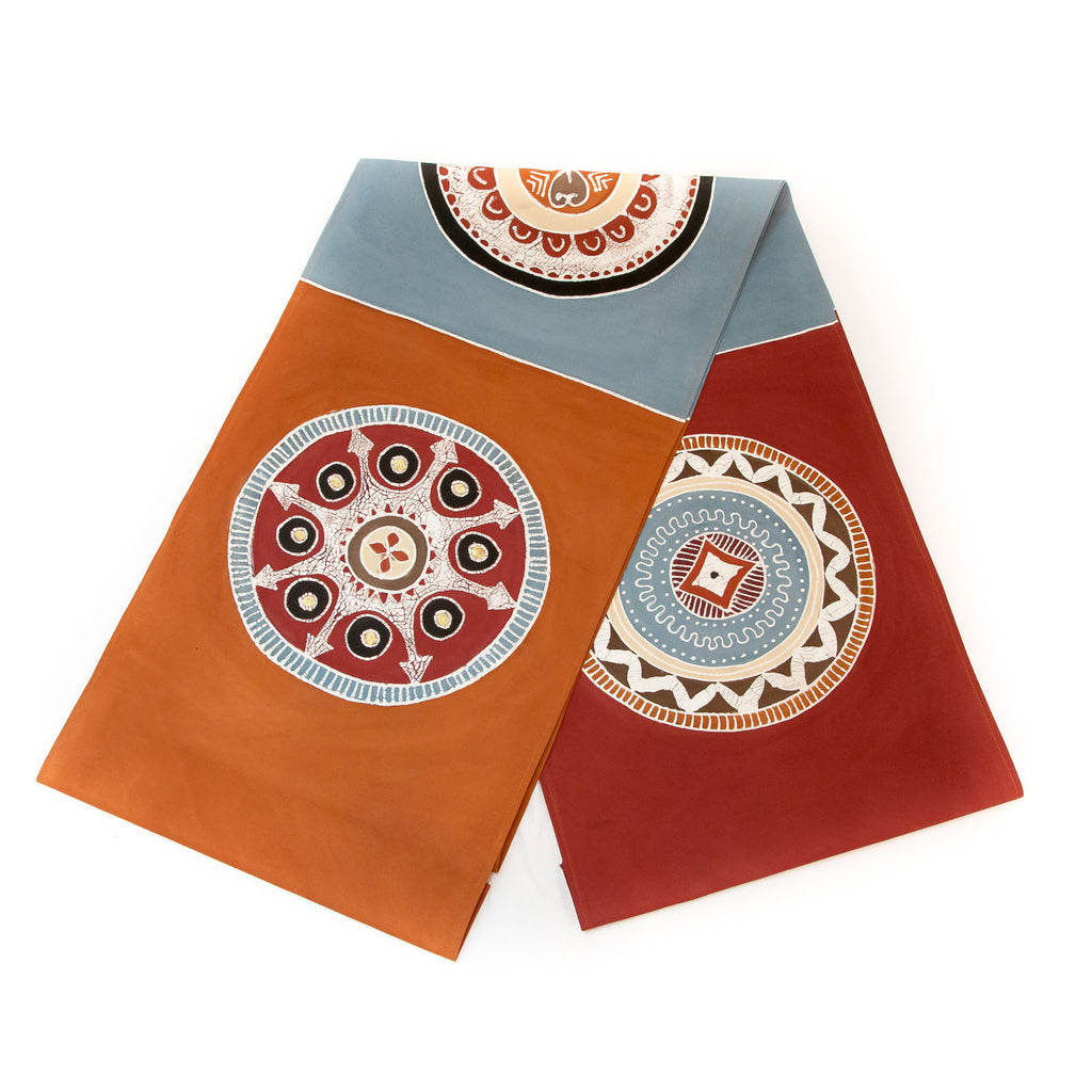 Hand made african print table Runners with red circles