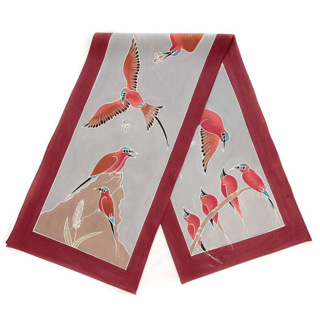Hand made african print table Runners with carmine bee eaters