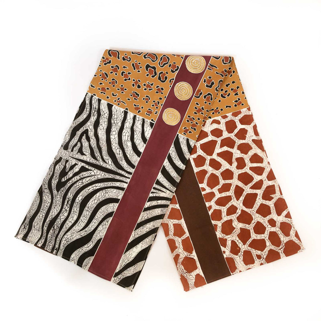 Hand made african print table Runners with animal skin patterns