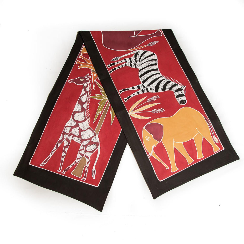 Hand made african print table Runners with various red safari animals