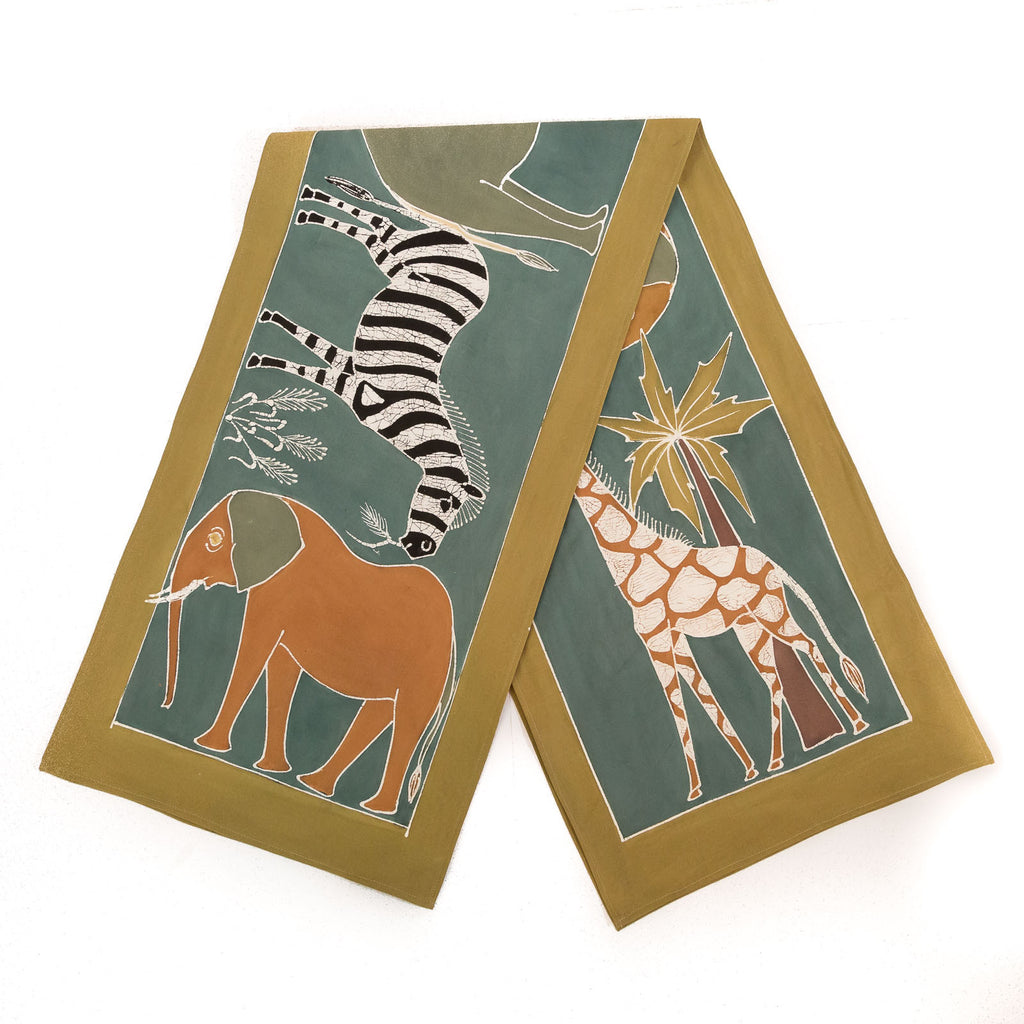 Hand made african print table Runners with various green safari animals