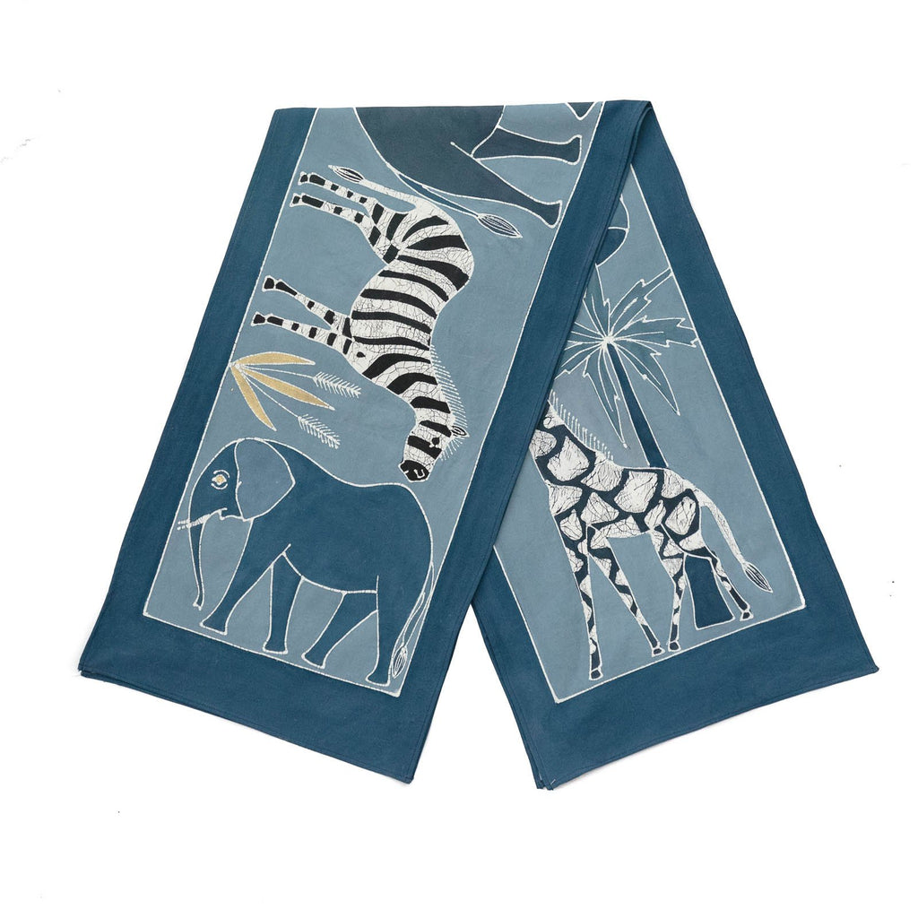 Hand made african print table Runners with various blue Indigo safari animals