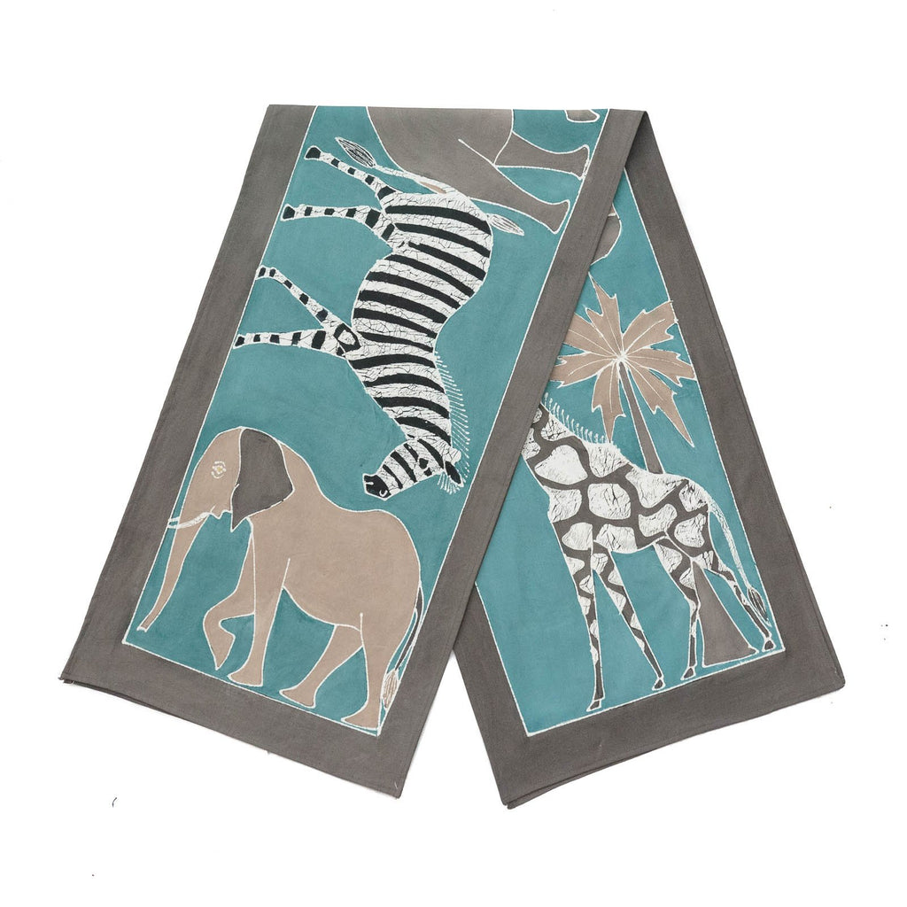 Hand made african print table Runners with various blue teal safari animals