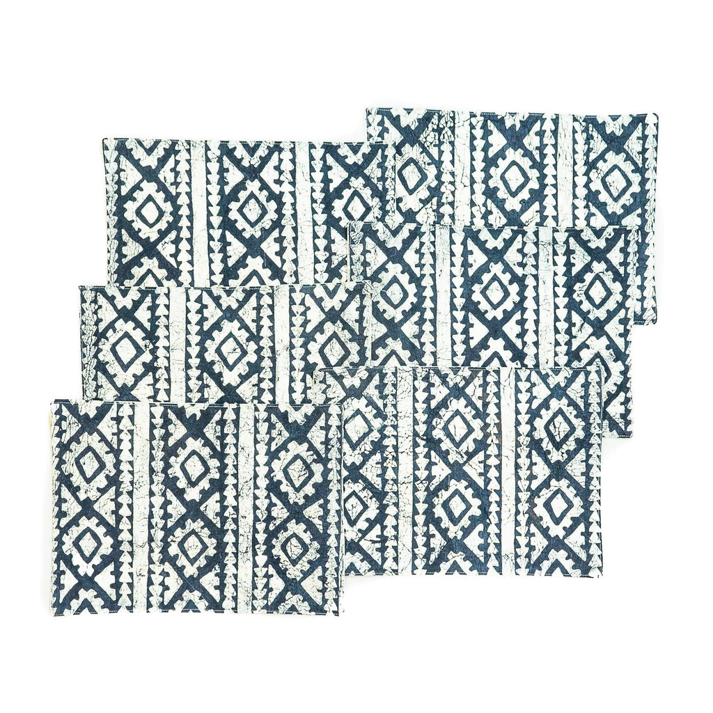 African placemats with indigo geometric print hand made in Africa