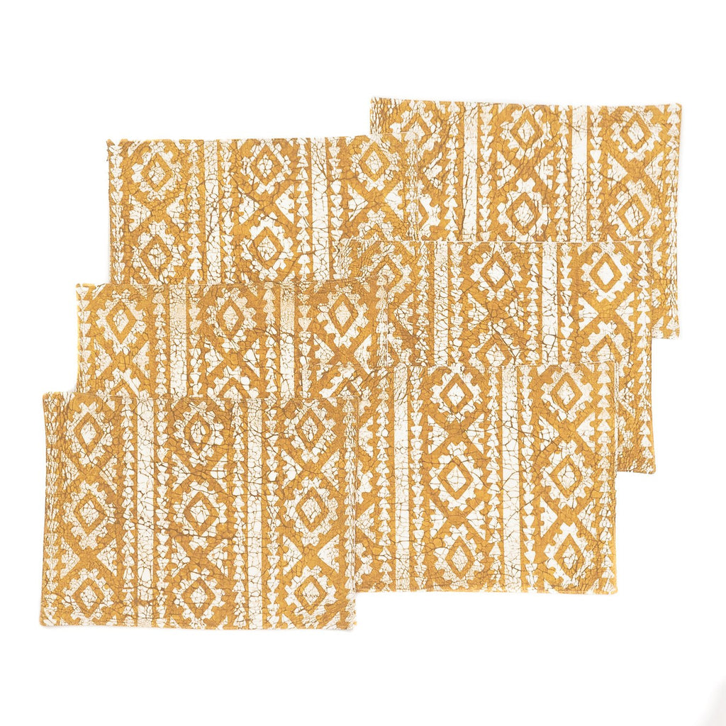 African placemats with yellow geometric print hand made in Africa