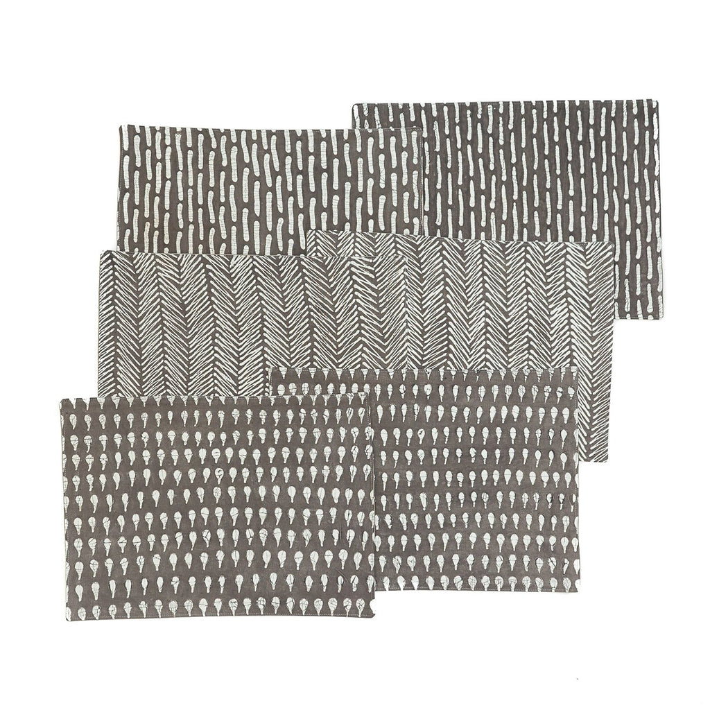 Handmade African placemats with dark grey colour