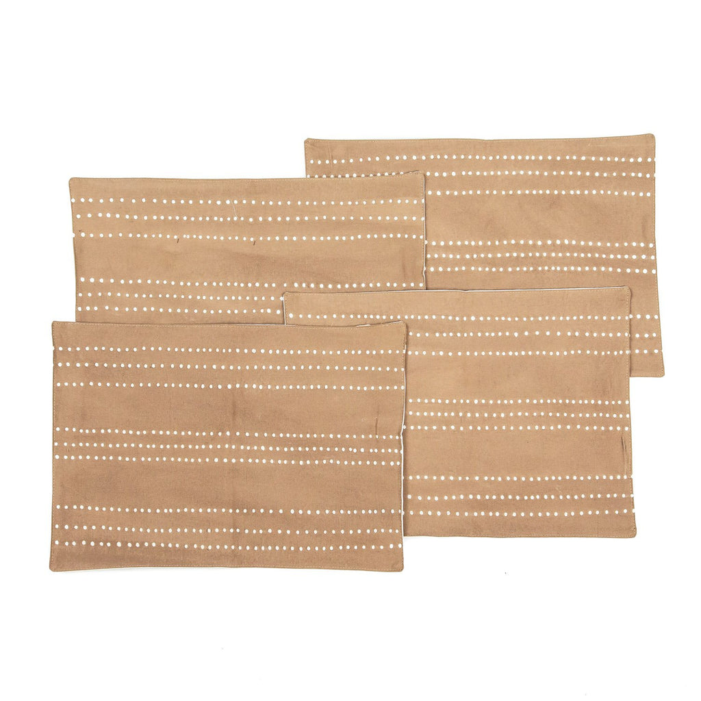 Handmade African placemats with dots in beige colours