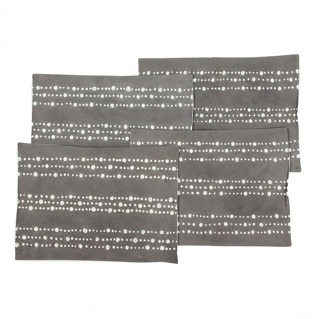 Handmade African placemats with dots in grey colours