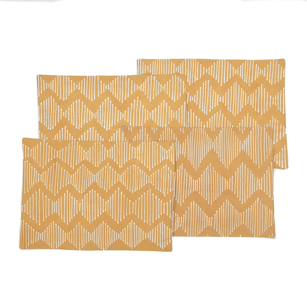 Handmade African placemats with waves in beige colours