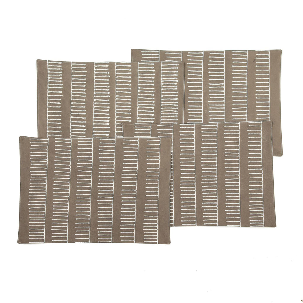 Handmade African placemats with rakes in beige colours