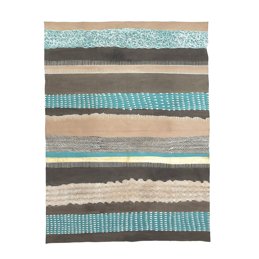 Hand made african tablecloth with geometric print in teal and grey colours