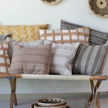Cushion Covers - Tribal Cloth Mushroom Rake