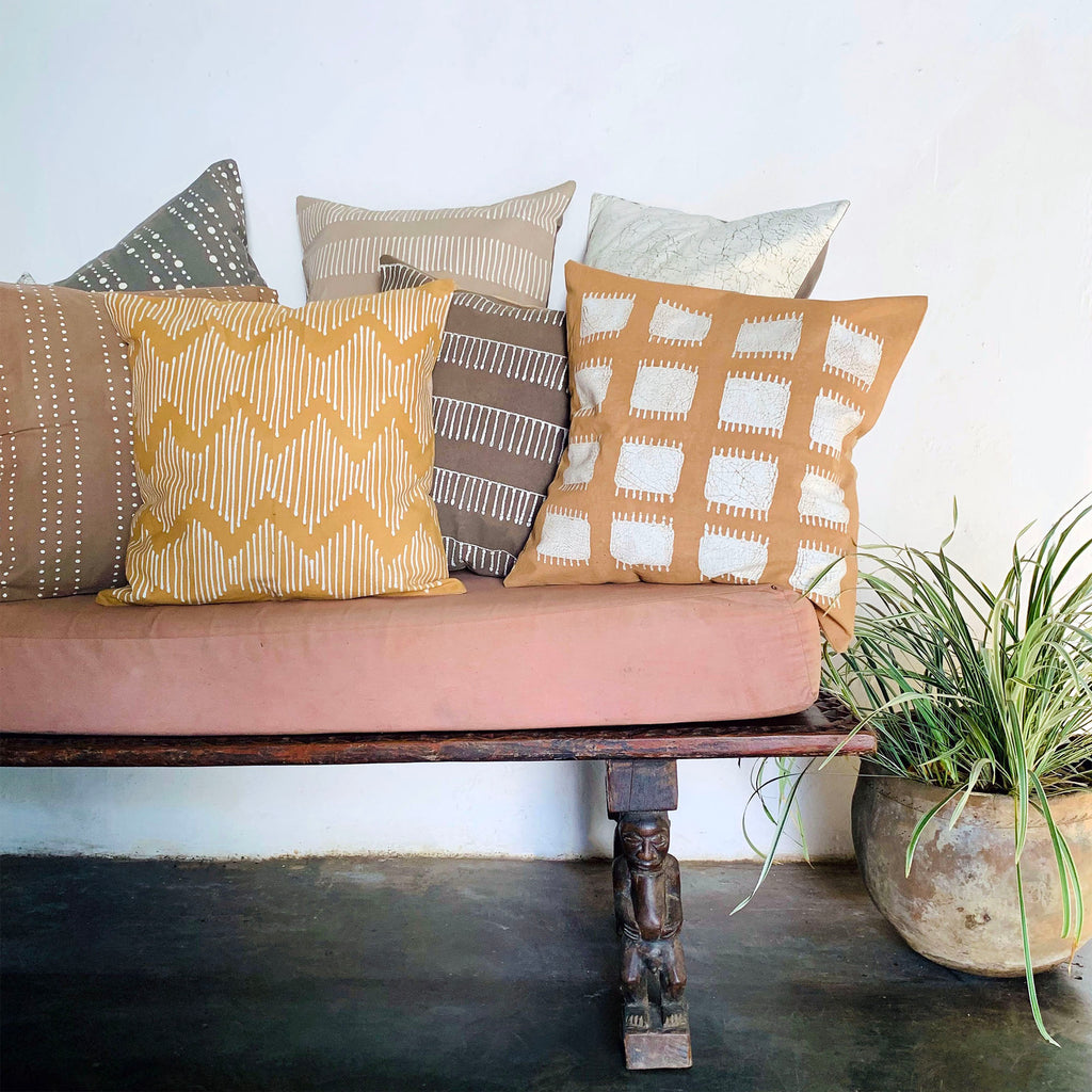 Cushion Covers - Tribal Cloth Mushroom Line Waves