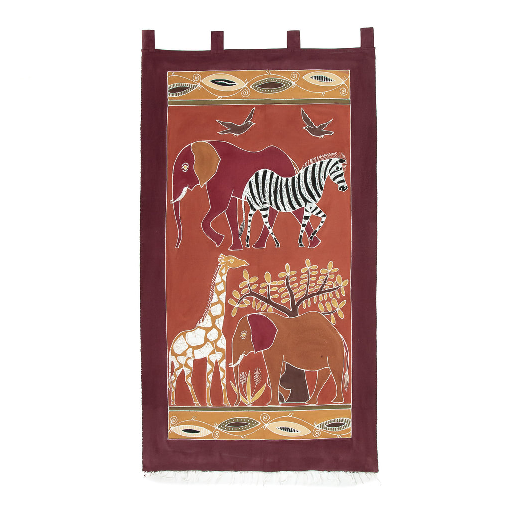 Wall Hangings with Tabs & Frays - Safari Animals Bushways