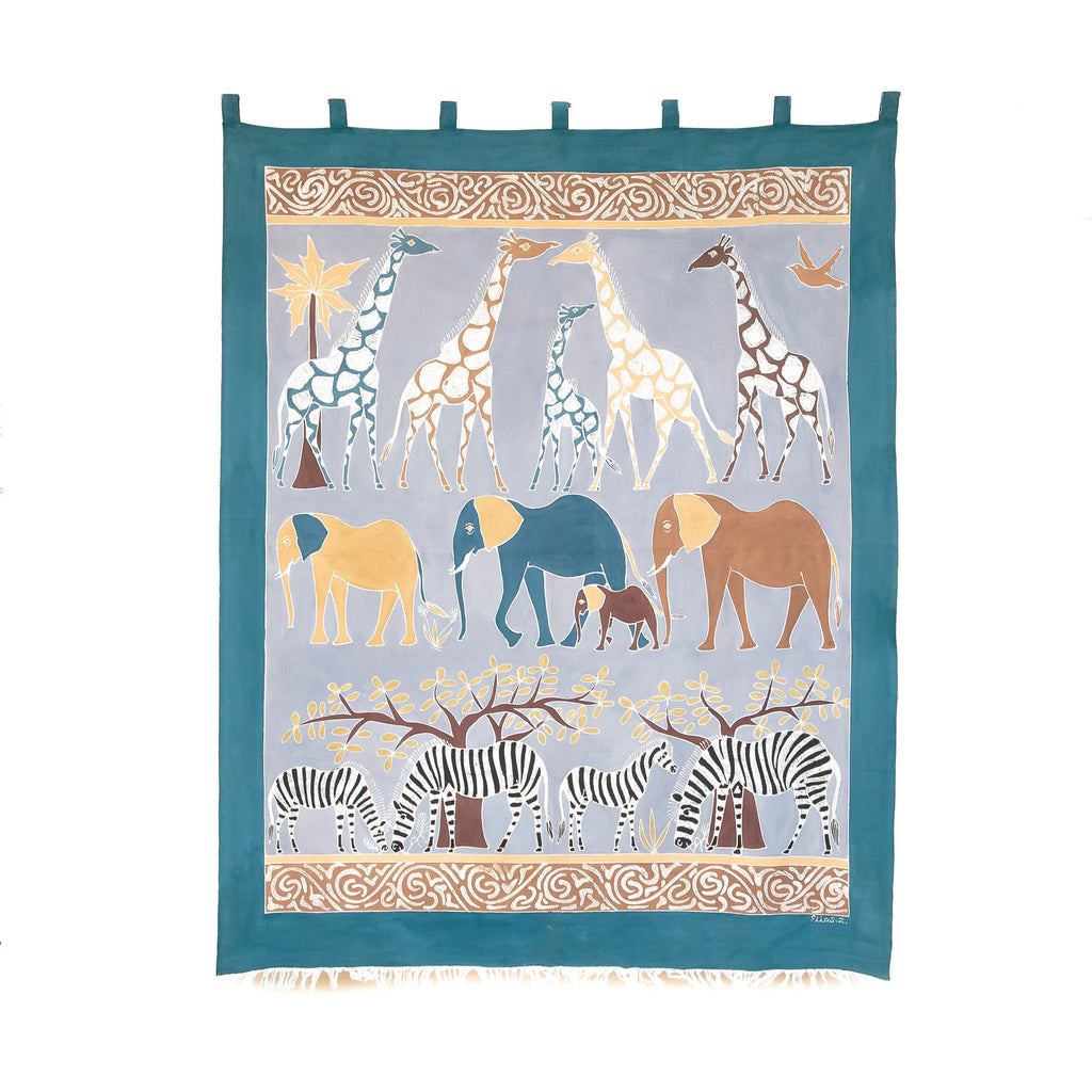 Wall Hangings with Tabs & Frays - Safari Animals Chocolate Blue