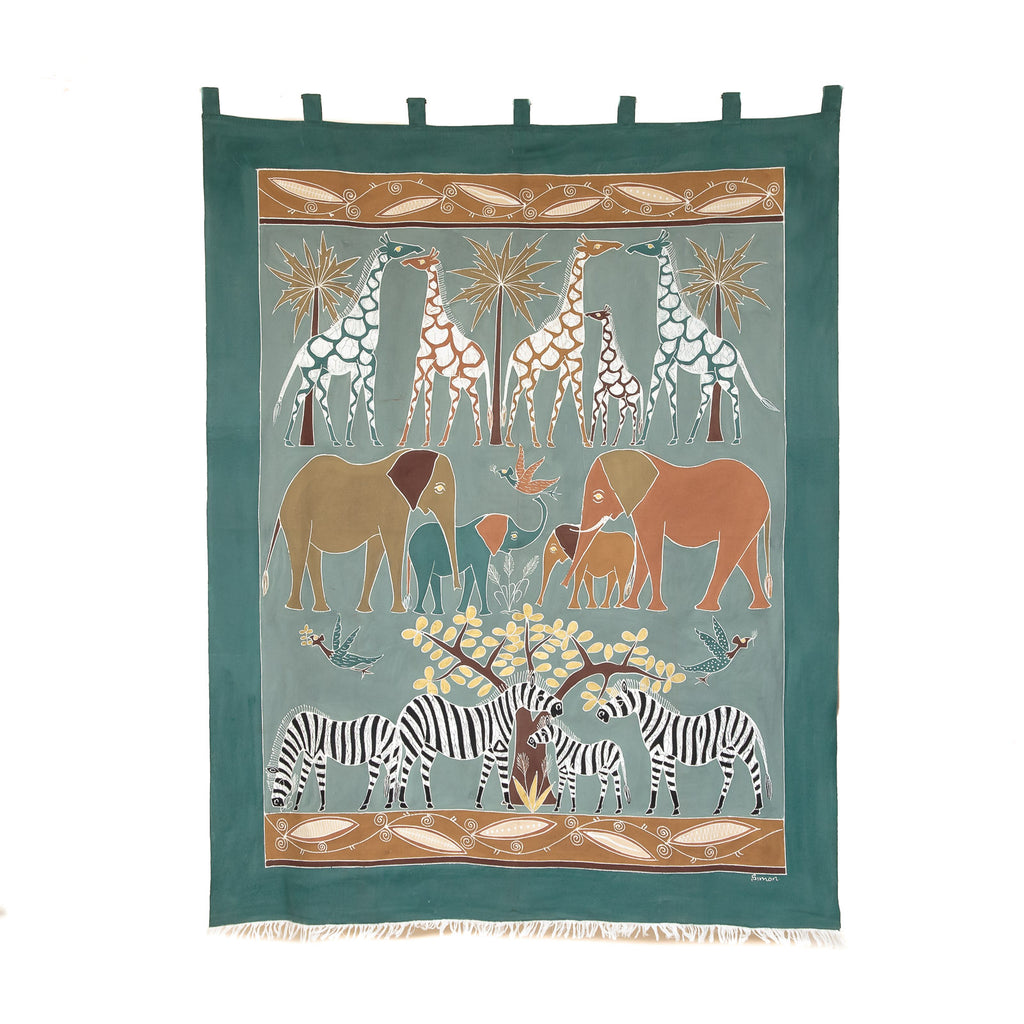 Wall Hangings with Tabs & Frays - Safari Animals Earth