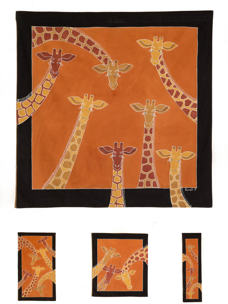 Hand-painted african wall art with giraffe