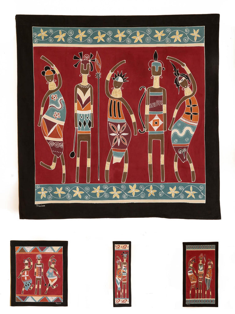 Hand-painted african wall art with massai warriors