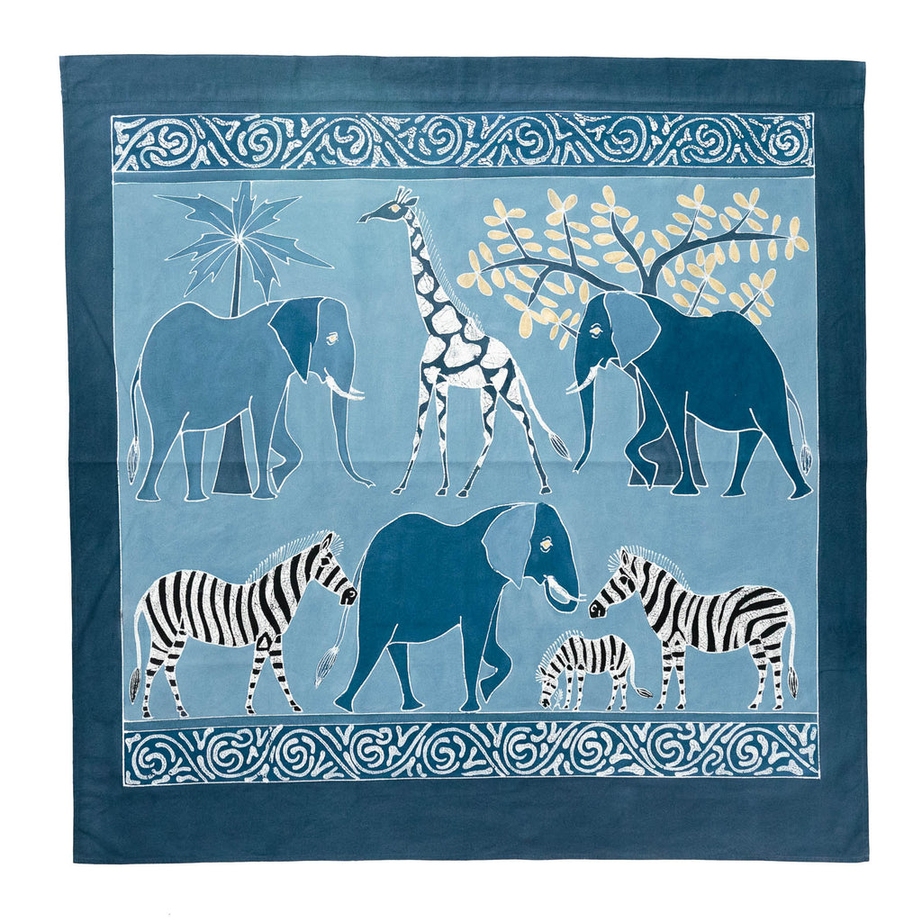 Wall Hangings - Safari Animals Indigo