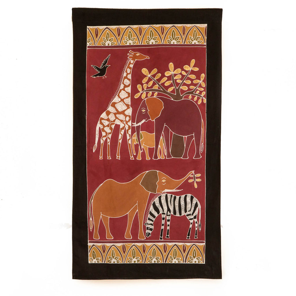 Hand-painted african wall art with safari animals in red tones