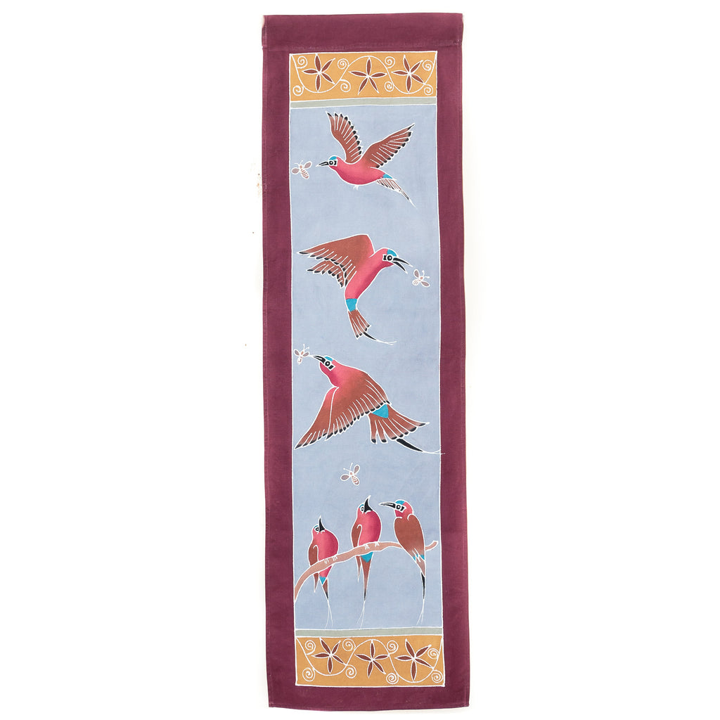 Hand-painted african wall art with carmine bee eater