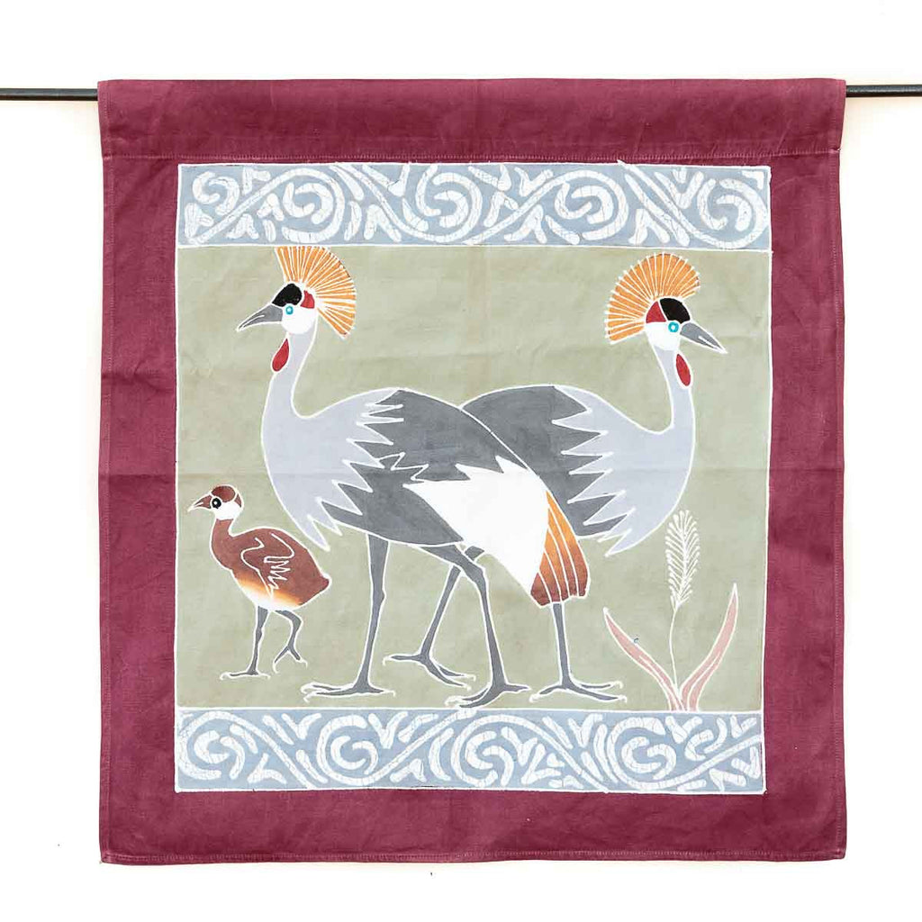 Hand-painted african wall art with crowned cranes