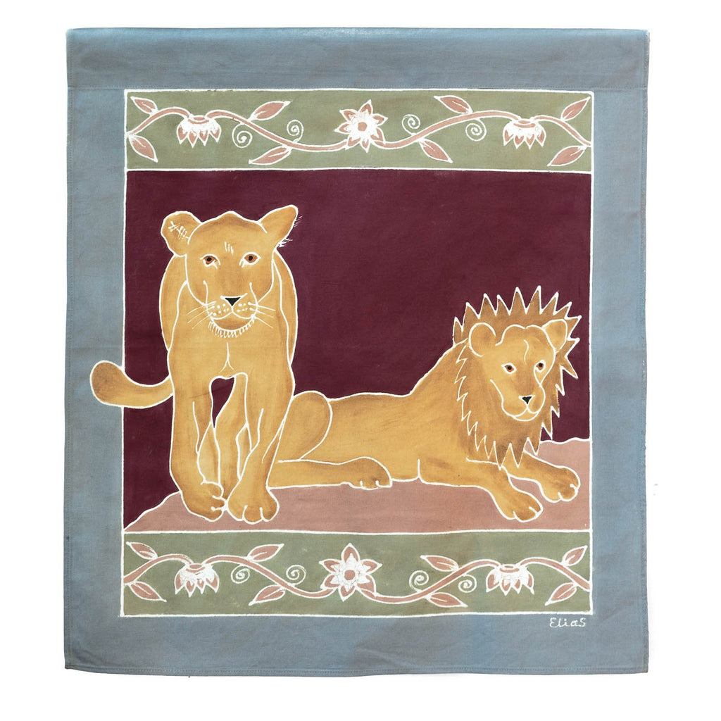 Hand-painted african wall art with lions