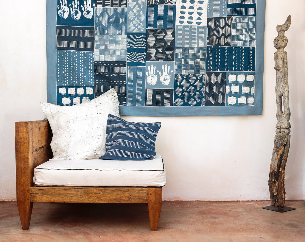 Cushion Covers - Tribal Cloth Indigo Rake