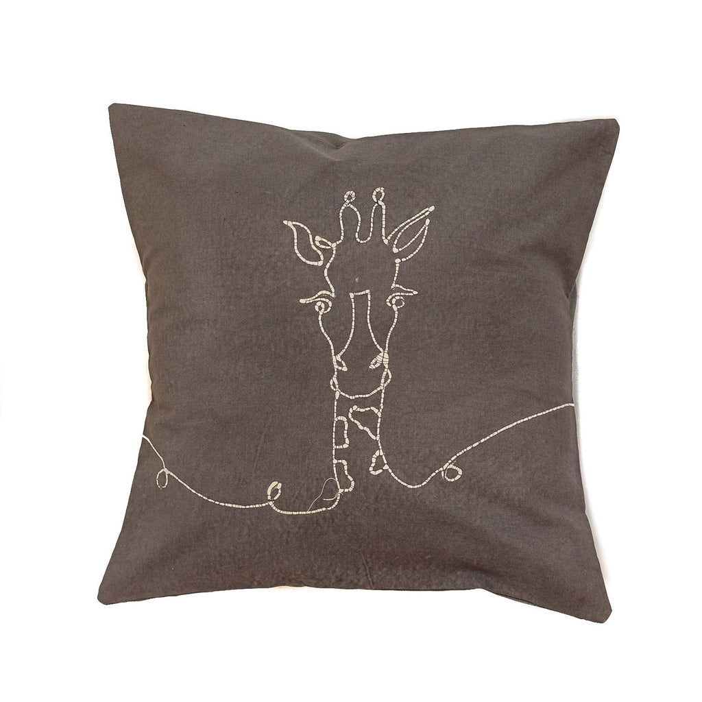 Cushion Cover - Wild Lines Giraffe Grey