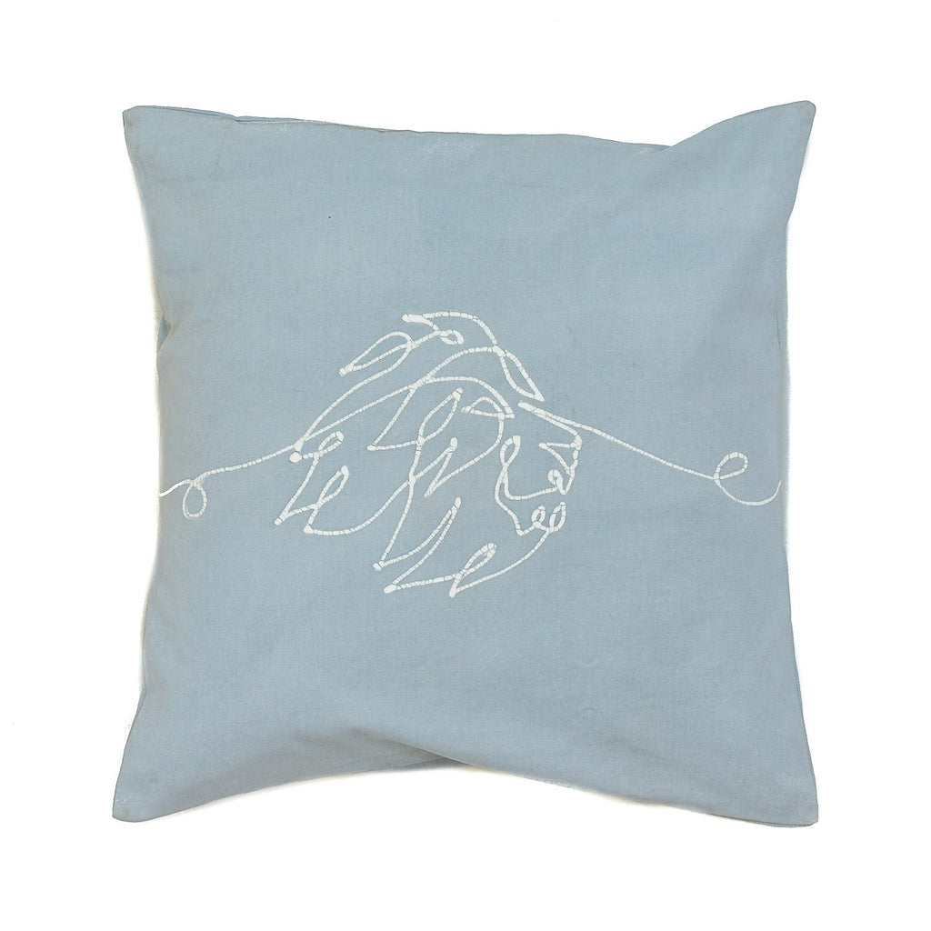 Cushion Cover - Wild Lines Lion Light Blue