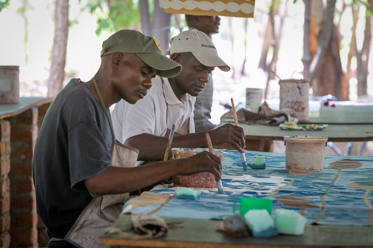 Tribal Textiles Artisans Hand Painting African Home Textiles In Our Workshop