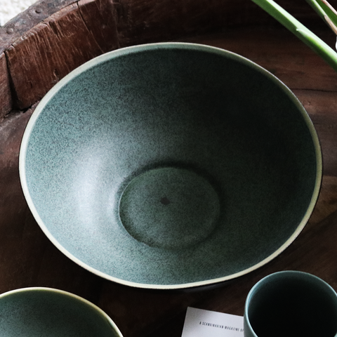 Large Bowl in Black/Green