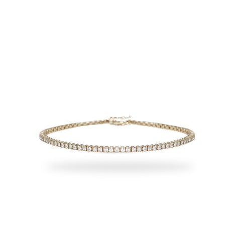 Tennis Bracelet / Gold / White Diamonds