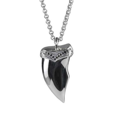 Claw Necklace / Silver / Black Diamonds