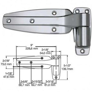Kason 1245/000028 Chrome Hinge for flush door - Absolute Coldroom