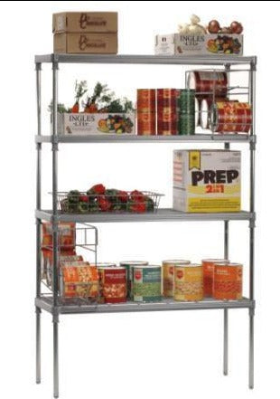 Craven Coldroom Shelving Unit, Nylon coated wire, Smooth Post, 4 Tier
