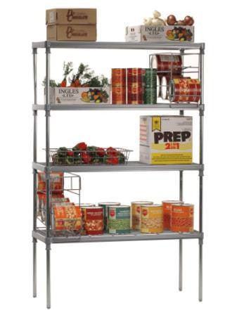 Craven Coldroom Shelving Unit, Nylon coated wire, Grooved Post, 4 tier