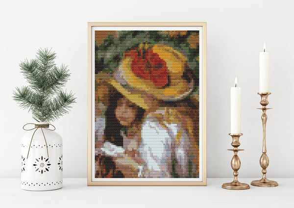 Two Young Girls Reading Cross Stitch