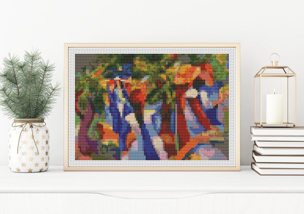 Girl Under the Trees Cross Stitch