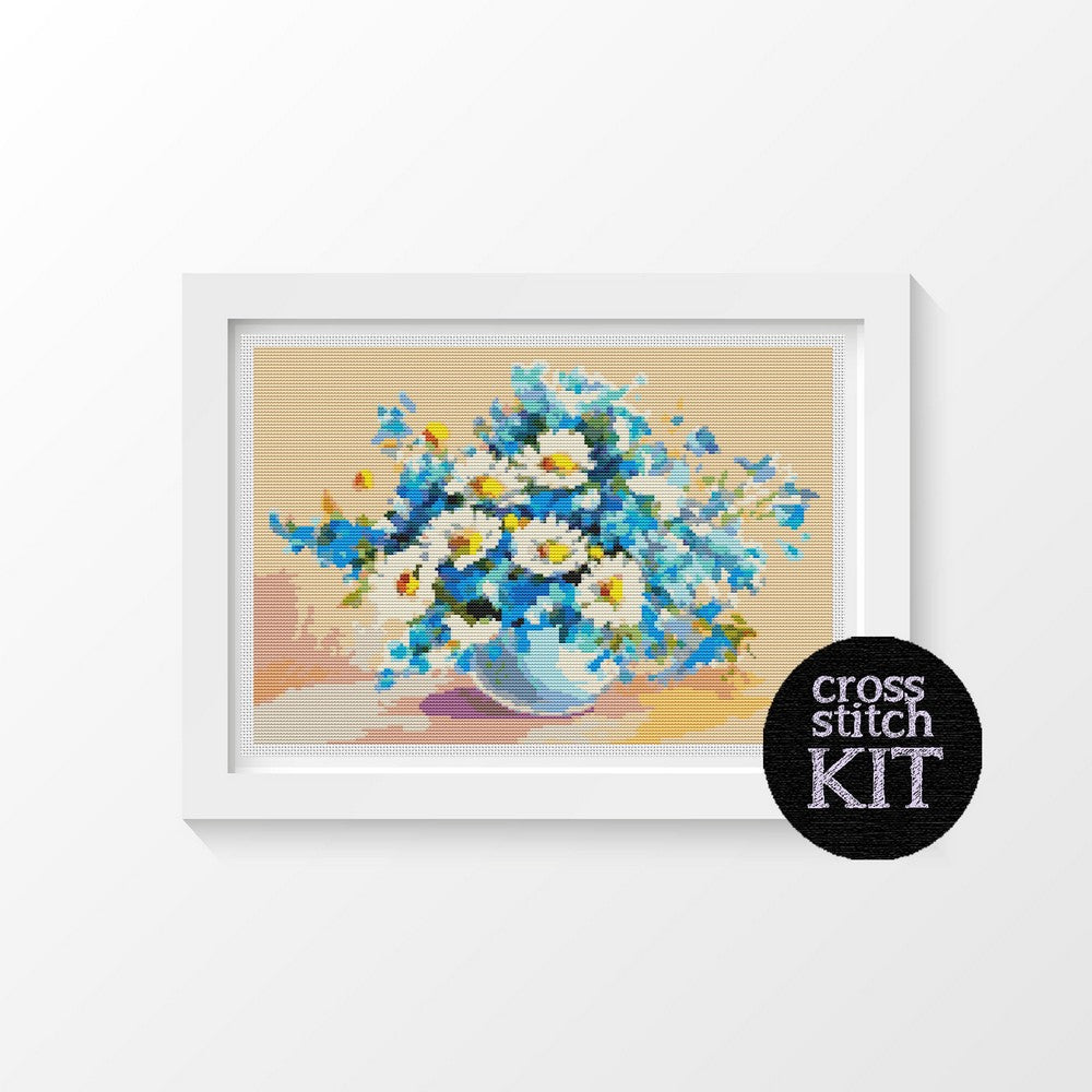 Daisies in a Sea of Blue Cross Stitch Kit - The Art of Cross Stitch