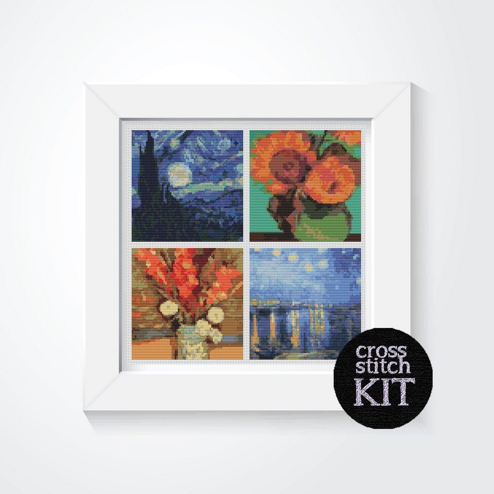 Four Squares featuring Vincent Van Gogh Cross Stitch Kit - The Art of Cross Stitch