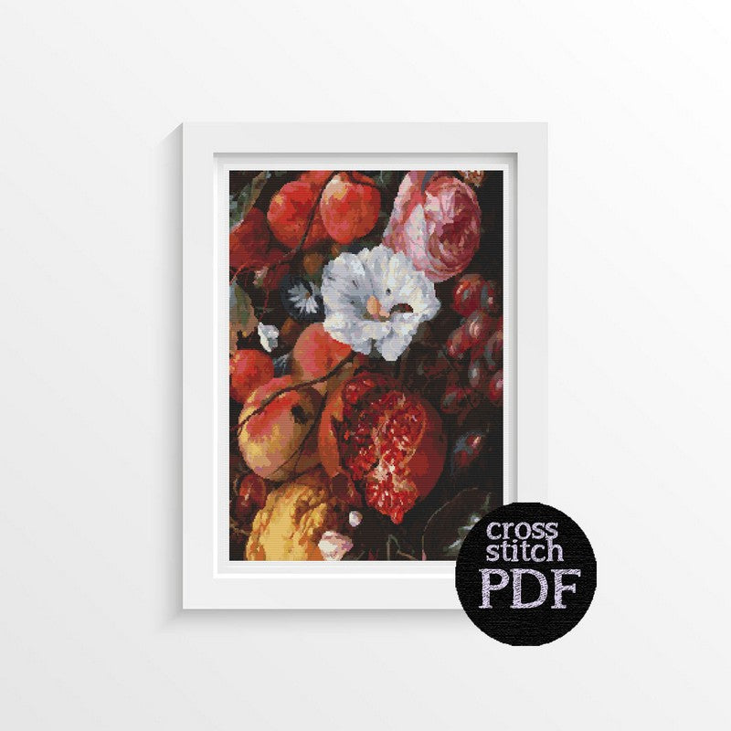 Festoon of Fruit and Flowers Cross Stitch Pattern - The Art of Cross Stitch