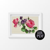 Pink Roses Cross Stitch Pattern - The Art of Cross Stitch