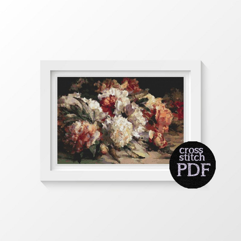 Peonies Cross Stitch Pattern - The Art of Cross Stitch