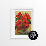 Poppies in a Vase Cross Stitch Kit