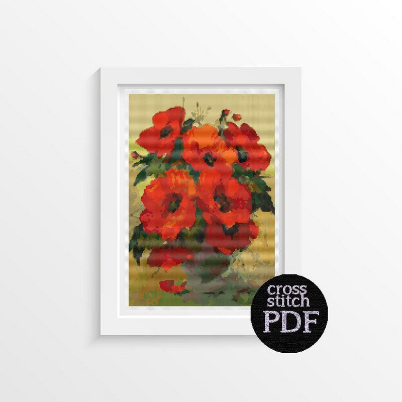 Poppies in a Vase Cross Stitch Pattern