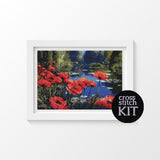 Poppies by the Pond Cross Stitch Kit